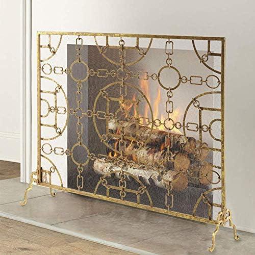 暖炉用品・アクセサリ メッシュと錬鉄火画面、ソリッドシングルパネルベビーセーフ証明ストーブ暖炉ガードスパークのためのエンバー炎、105×22×90センチメートル (Color : Gold)