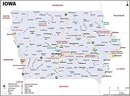 Garner Iowa Map.Amazon Com Iowa Map 36 W X 26 45 H Office Products