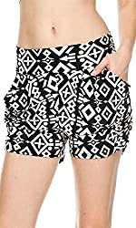 Women Harem Slouch Shorts with Flower Print/Side Pockets/Elastic Waistband (Small/Medium, Bright Blue Shapes)