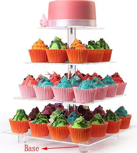 LoveDisplay 4 Tiers Clear Maypole Square Acrylic Cupcake Stand Cake Pastry Dessert Tree Tower Display Stand For Wedding(With Base)