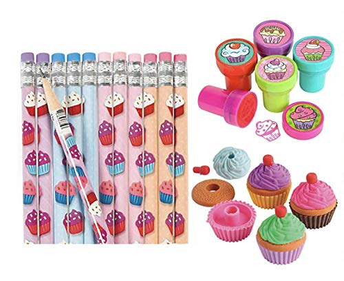 Nikki's Knick Knacks 36 Piece Sweet Treat Cupcake Party Favor Set- Pencils, Erasers, and Stampers