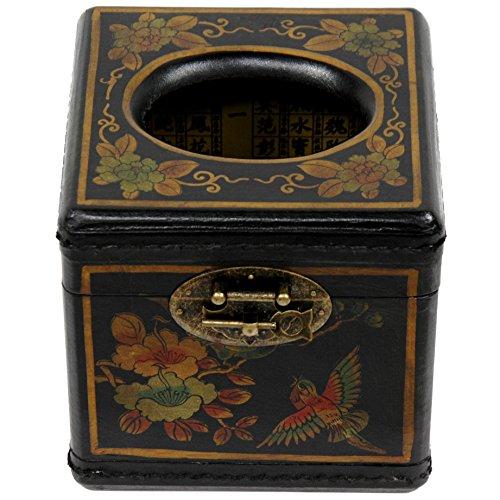 Oriental Furniture Black Lacquer Cube Tissue Box