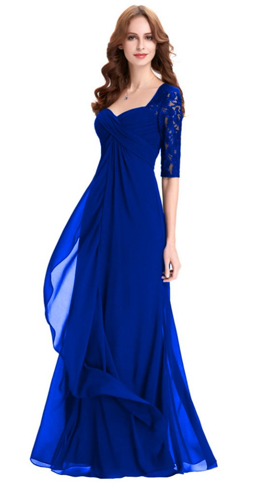 afb4e0597166e Home/Brands/Honeydress/Honeydress Women's Elegant Lace Half Sleeve Ruffles  Evening Dress Mother Gown RoyalBlue. ; 