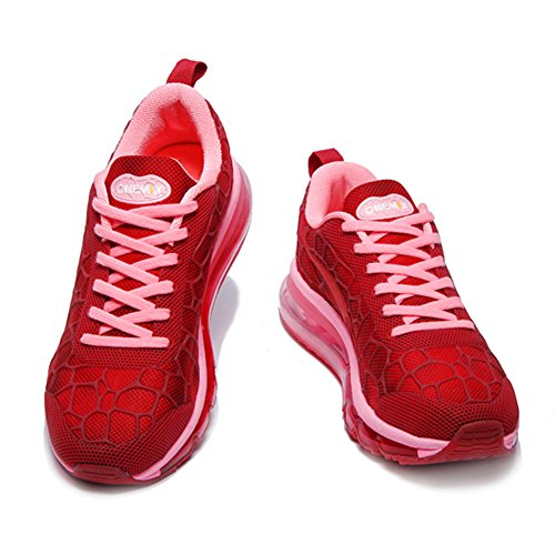 Onemix adulte Vin Femme Chaussures Homme Mixte fitness Sneakers Rouge Respirante Sports Jogging Air B0BUwqar