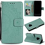 Galaxy S9 Floral Wallet Case,Galaxy S9 Strap Flip Case,Leecase Embossed Totem Flower Design Pu Leather Bookstyle Stand Flip Case for Samsung Galaxy S9-Green