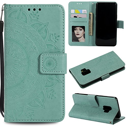 Galaxy S9 Plus (S9 +) Floral Wallet Case,Galaxy S9 Plus (S9 +) Strap Flip Case,Leecase Embossed Totem Flower Design Pu Leather Bookstyle Stand Flip Case for Samsung Galaxy S9 Plus (S9 +)-Green by Leecase