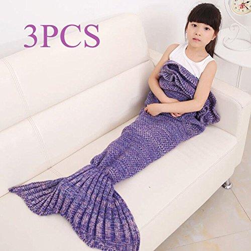 3PCS Children Warm Soft Crochet Handmade Mermaid Tail Blanket Knitting Living Sleeping Bag Camping Bag for Girls Kids (Tender purple 3PCS) from GDAE10