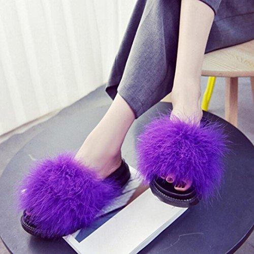 OverDose Damen Slip on Sliders Flauschige Faser Flache Pantoffel Flip Flop Sandalen Slipper Purple