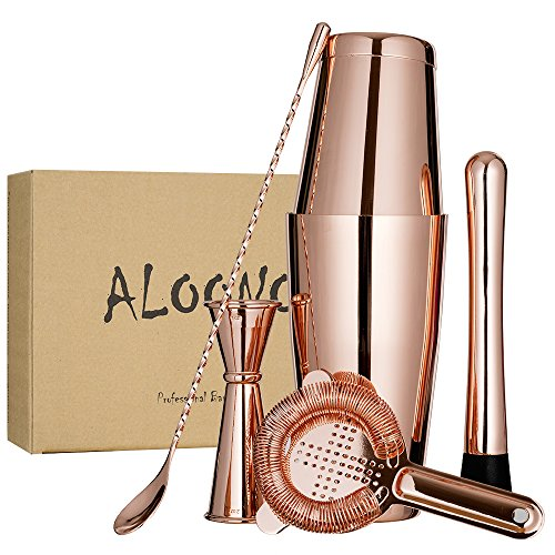 Copper Plated Boston Cocktail Shaker Bar Set in Gift Box: 18oz & 28oz Weighted Shaker Tins, Hawthorne Cocktail Strainer, Double Jigger (0.5oz - 2oz), 12'' Mixing Spoon, Drink Muddler and Greeting Card