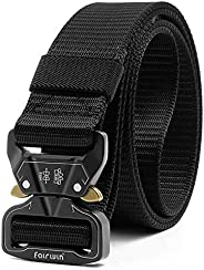 Fairwin Tactical Belt, Rigger's Military Nylon Webbing Belt with Heavy-Duty Quick-Release Metal Buckle, Aw