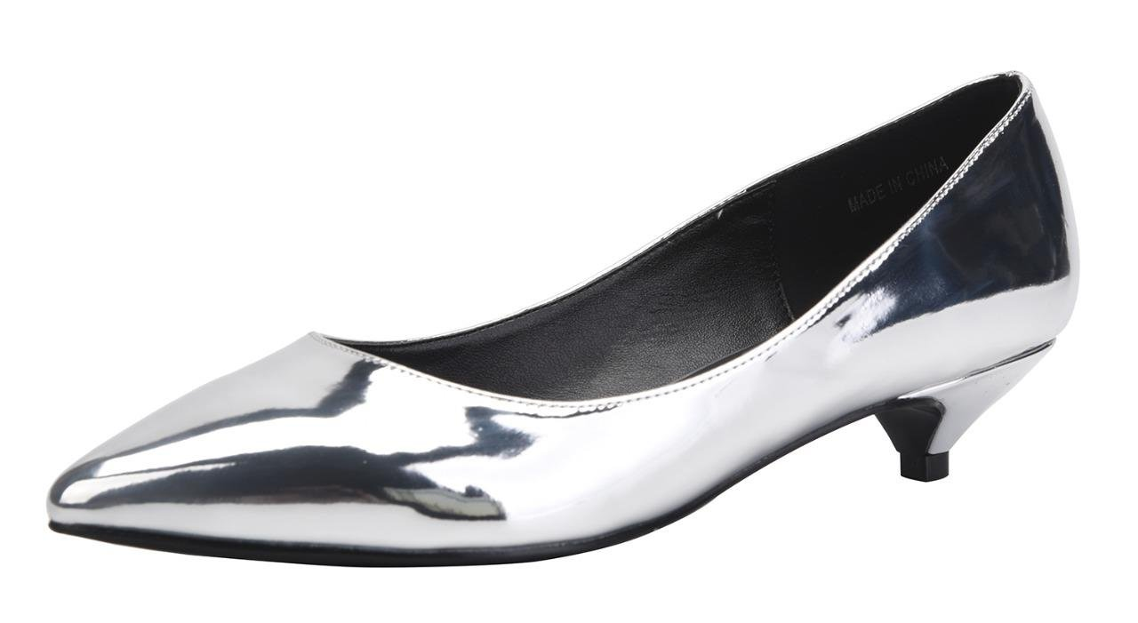 CAMSSOO Women's Comfor Classic Slip On Pointed Toe Dress Shoes Low Heel Pump Wedding Shoe Silver Patent PU Size US7.5 EU39