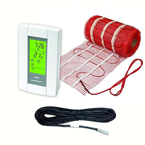 - 10 Sqft Mat, Electric Radiant Floor Heat Heating System with Aube Digital Floor Sensing Thermostat