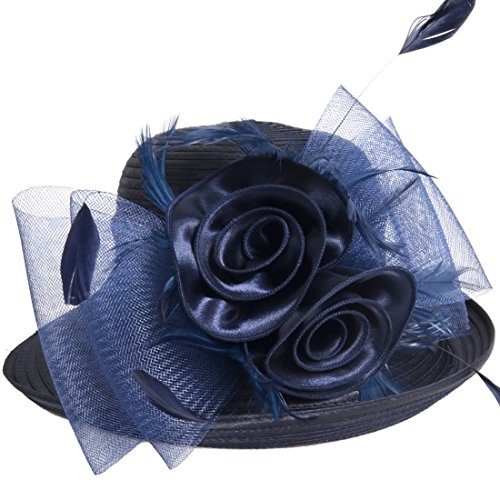 HISSHE Lightweight Kentucky Derby Church Dress Wedding Hat #S052, Bowler-navy, Medium from HISSHE