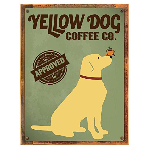 Wood-Framed Yellow Dog Coffee Company Metal Sign, Kitchen,