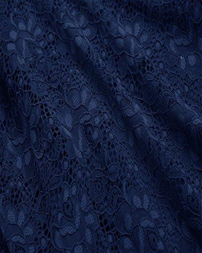 Trifoglio Sposa 2018 Del Collo Della Barca Di Pizzo Dell'annata Delle Donne Piegano Il Vestito Da Cocktail Di Un Grande Swing-linea Blu