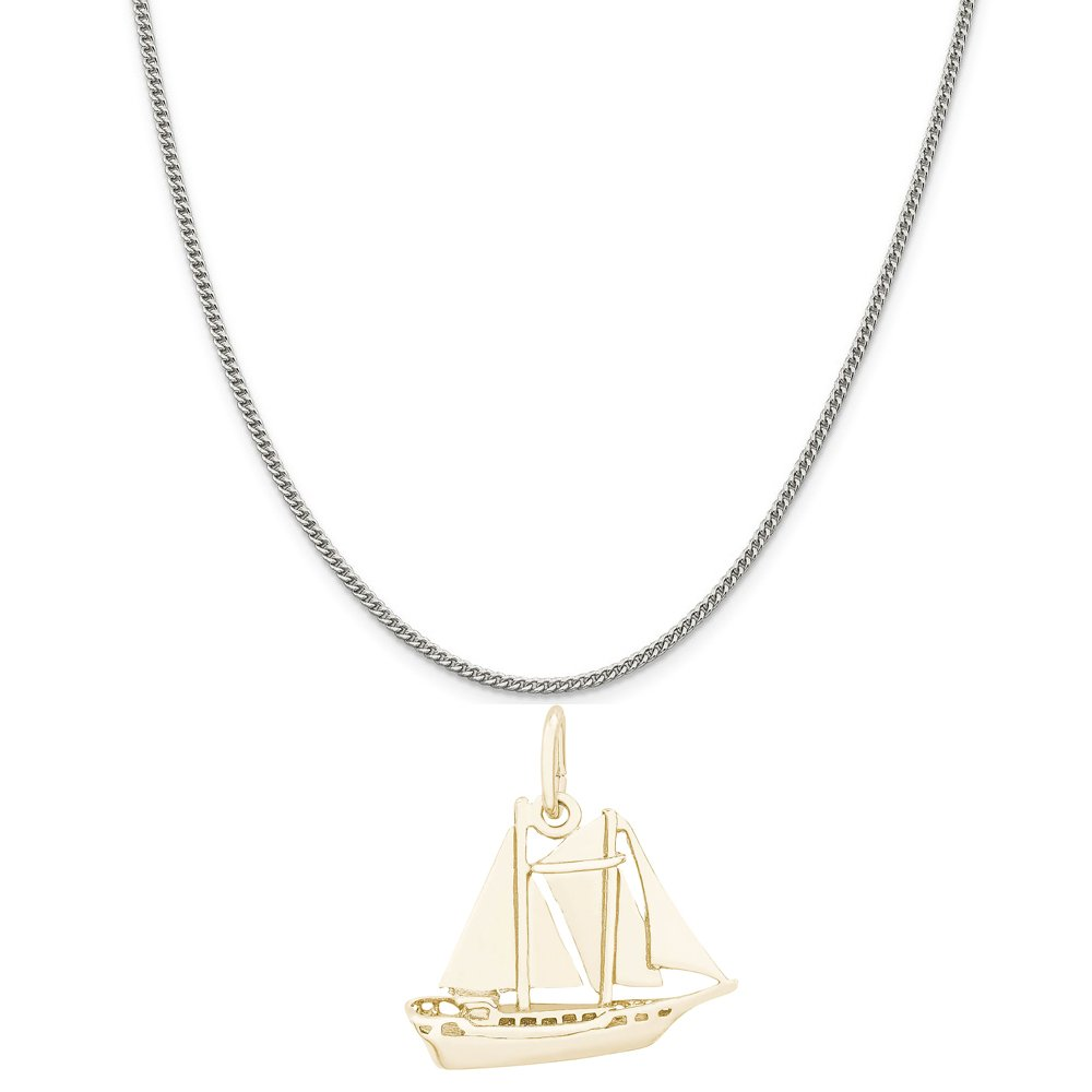 18 or 20 inch Rope Box or Curb Chain Necklace Rembrandt Charms Two-Tone Sterling Silver Schooner Sailboat Charm on a Sterling Silver 16