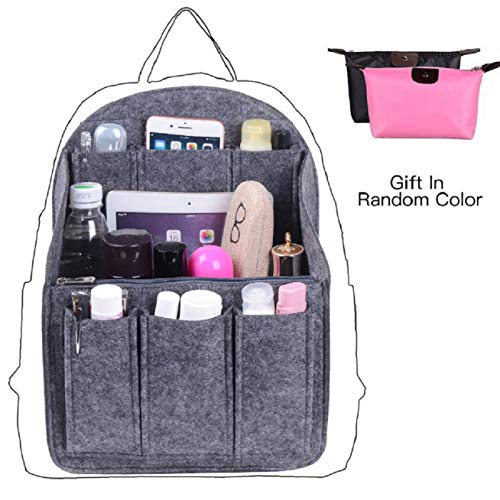 Felt Backpack Organizer Insert, Round Top Purse Organizer, Backpack Purse And Travel Backpack For WomenMen Travel Backpack For Women Backpack For Mummy Coach MCM LV JanSport Anello etc, Grey Large