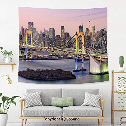 SoSung Cityscape Wall Tapestry,Tokyo Japanese Capital City Rainbow Bridge Skyscrapers Ultra Modern Town Scene Decorative,Bedroom Living Room Dorm Wall Hanging,92X70 Inches,Multicolor