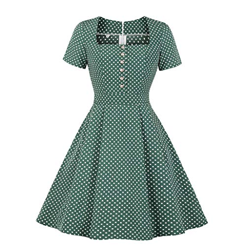 Square Printing Collar - Women Dresses For Church Dot Printing Short Sleeve Square Collar Button Down Skater Dress Vintage 50s Dresses For Girl Friends Gift By Sagton (Green,M)