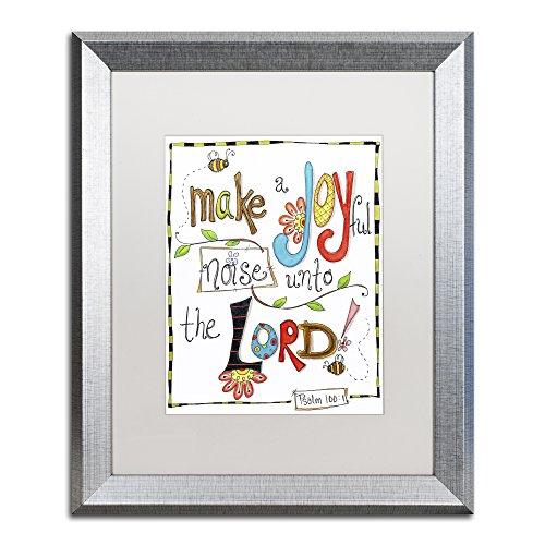 Trademark Fine Art Words of Joy - Joyful Noise by Jennifer Nilsson, White Matte, Silver Frame 16x20-Inch -