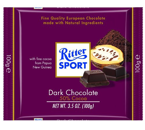Ritter Sport, Dark Chocolate 50% Cocoa, 3.5-Ounce Bars (Pack of 12)