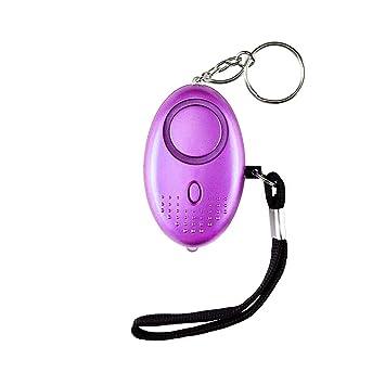 Alarma Personal,130DB Alarma Seguridad Autodefensa con Luz LED Ataque de pánico Llavero Alarma para Mujeres, Niños, Ancianos, Turno Nocturno(Púrpura)