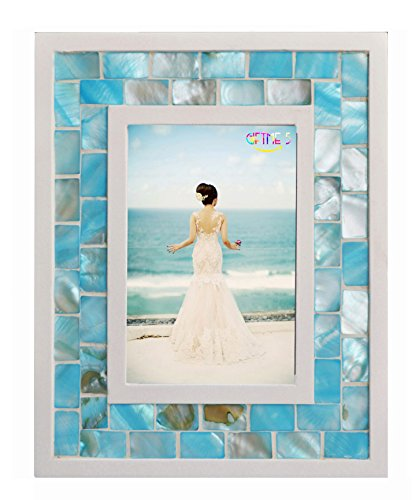 Tropical Beach Photo - GIFTME 5 Mother of Pearl Mosaic Photo Frame,Beach Tabletop Picture Frames(5x7 inch, Blue)
