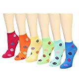 12 Pairs Women's Socks Assorted Colors Size 9-11 (Multi-Color Peace Sign)