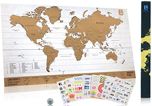 Scratch Travel Map Classics - Scratch Easily With Coin Included - 229 Cute Travel Stickers - Share Your Travel Stories