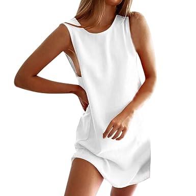 264e3c5674 Women s Summer Casual Sleeveless Mini Beach Dress Comfort Solid O-neck  Holiday Party Sundress  Clothing