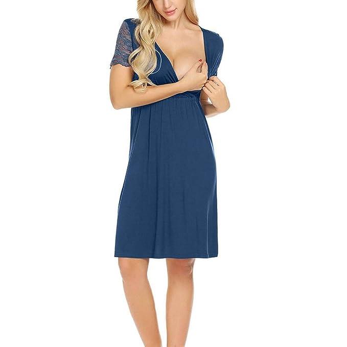 ALIKEEY Camisón De Encaje del Vestido De Mujer Embarazada Embarazo Lactancia Empalme Vestido De Maternidad Triangular