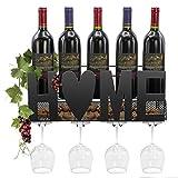 Sorbus Wine Bottle Stemware Glass Rack Cork Holder Wall Mounted - Elegant Storage for Kitchen, Dining Room, Bar, Wine Cellar (Home - Black)