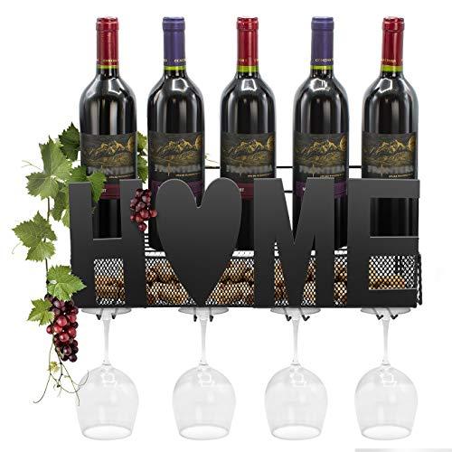 Metal Bottle Wine Grapes (Sorbus Wine Bottle Stemware Glass Rack Cork Holder Wall Mounted - Elegant Storage for Kitchen, Dining Room, Bar, Wine Cellar (Home - Black))