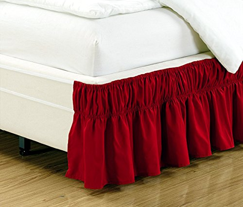 Mk Collection Wrap Around Style Easy Fit Elastic Bed Ruffles Bed-Skirt Queen-king Solid Red New