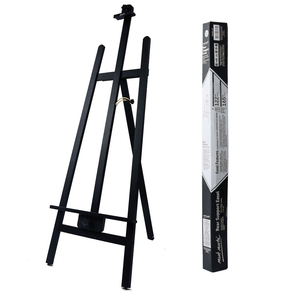 Mont Marte Rear Support Easel. Floor A-Frame Wooden Easel Constructed from Quality Pine Wood. Holds Canvases Up to 48in (122cm) in Height. Folds Easily for Storage. by Mont Marte