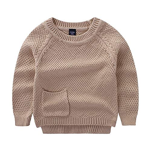 Toddler Baby Boys Girls Pullover Sweater Kids Solid Cable Knit Sweatshirt 80 Khaki