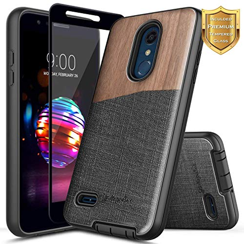 (LG K30 Case, LG Premier Pro/Xpression Plus/Phoenix Plus /K10 2018 /Harmony 2 w/[Full Cover Tempered Glass Screen Protector] NageBee Premium [Natural Wood] Canvas Fabrics Shockproof Hybrid Case -Wood)
