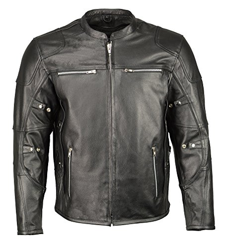 M Boss Apparel BOS11506 Men's Triple Vent Leather Jacket with Stretch Sides and Armor - Large