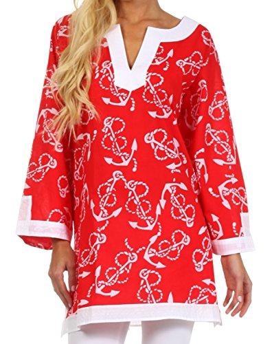 Sakkas 4020 Anchor Cotton Long Sleeve Tunic Blouse - Red - 1X