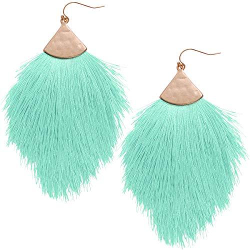 Humble Chic Fringe Tassel Statement Dangle Earrings - Lightweight Long Feather Drops, Mint Green, Aqua, Light Teal, Gold-Tone