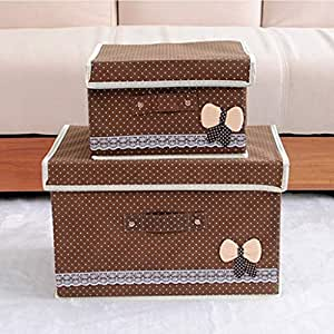 PPCP Foldable Storage Box with Lid Storage Box (Color : Brown)