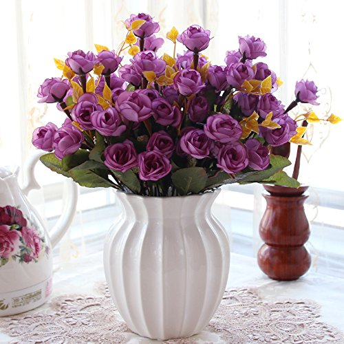 XHOPOS HOME Artificial Flowers Purple Rose White Ceramic Vase Wedding Decorations Bridal Accessories Fake Flowers living (Potted Rose Topiary)