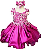 Jenniferwu Infant Toddler Baby Newborn Little Girl's Pageant Party Birthday Dress G023 Fuchsia Size 9-12M