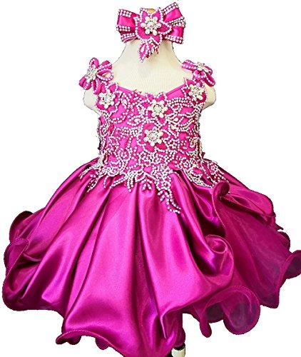 Jenniferwu Infant Toddler Baby Newborn Little Girl's Pageant Party Birthday Dress G023 Fuchsia Size 9-12M by Jenniferwu