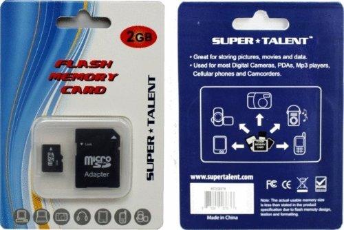 Super Talent 2GB Micro SD Memory Card w/ Adapter, Retail - RETAIL (Talent Super Microsd)