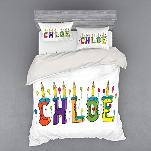 Ambesonne Chloe Bedding Set, Lettering with Cheerful Bitten Cake Candles Girly Birthday Party Design First Name, 4 Piece Duvet Cover Set with Shams and Fitted Sheet, Queen Size, Multicolor