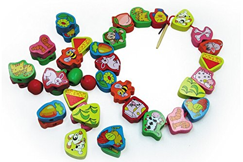 Elloapic 66 Piece Colorful Wood Animal Pair On the Rope Lacing Beads Early Teaching Toy