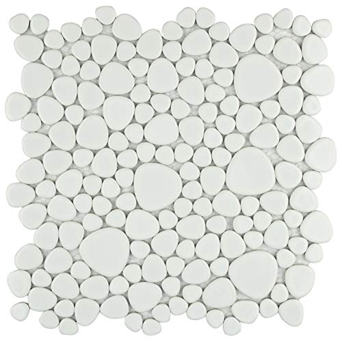 "SomerTile FKOPS11 Boulder Porcelain Floor and Wall Tile, 11"" x 11"", White"