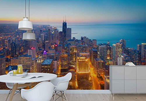 Photo wallpaper wall mural - Chicago Coast Dusk Skyline City - Theme Cities - XL - 12ft x 8ft 4in (WxH) - 4 Pieces - Printed on 130gsm Non-Woven Paper - 1X-1331342V8 (Paper Printed 12')