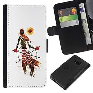 Be-Star la tarjeta de Crédito Slots PU Funda de cuero Monedero caso cubierta de piel Para HTC One M9 ( African Tribal Man Art Scarf Pattern Sun )